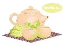 Chińczyka Matcha herbaciani elementy, mieszkanie styl royalty ilustracja