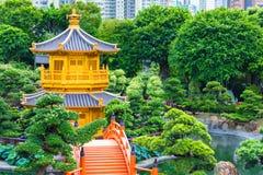 Chi Lin Nunnery et Nan Lian Garden Pavillon d'or de la perfection absolue en Nan Lian Garden dans le Chi Lin Nunnery, Hong Kong, image libre de droits