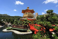 Chi Lin Nunnery and garden in Hong Kong. Golden pavilion of Chi Lin Nunnery and Chinese garden, landmark in Hong Kong royalty free stock images