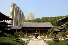 Chi Lin Nunnery, a large Buddhist temple complex built without a. Single nail, in Diamond Hill, Kowloon, Hong Kong Stock Photography
