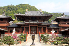Chi Lin Nunnery, a large Buddhist temple complex built without a. Single nail, in Diamond Hill, Kowloon, Hong Kong Stock Photos