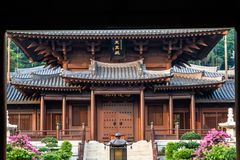 Chi Lin Nunnery temple in Nan Lian Garden, Hong Kong. Dating from 1934, it is constructed entirely of wood--no nails used stock photography