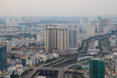 Ho Chi Minh city, Vietnam - December 2018: the city view with river and bridges from Skydeck. Chi minh city vietnam december 2018 view river bridges skydeck stock image