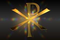 Chi Rho Pax Christi Symbol. A golden Chi Rho Christogram or Pax Christi on a dark background Royalty Free Stock Images