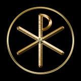 Chi-Rho symbol på svart Arkivfoton