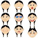Chińscy dziewczyny Emoticon Emoji majchery ilustracja wektor