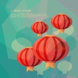 Chińscy lampiony w niskim poli- stylu ilustracji