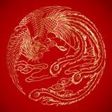 Chińscy rocznika Phoenix elementy na klasycznym czerwonym tle Fotografia Royalty Free