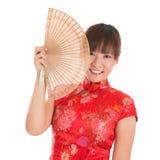 Chińska cheongsam kobieta z fan Zdjęcie Stock