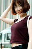 Chińska dziewczyna w ogródzie Fotografia Royalty Free