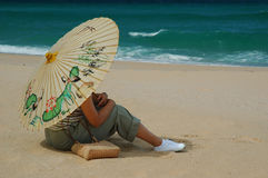 chińska kobieta parasolowa Obrazy Royalty Free