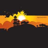 Chińska wioska na górach Obrazy Stock