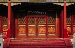 Chiński drewniany drzwiowy Pekin Zdjęcie Royalty Free