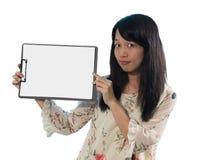 Chiński dziewczyny przedstawienia pustego miejsca talerz fotografia royalty free