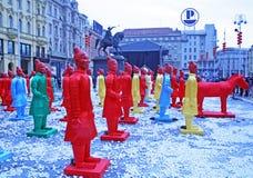 Chiński nowy rok 4713th, 5, Zagreb, Chorwacja Fotografia Stock