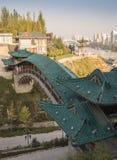 Chiński pawilon w miasto parku obrazy stock