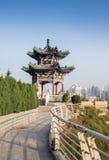 Chiński pawilon w miasto parku fotografia royalty free