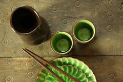 chiński sake zestaw Obrazy Royalty Free