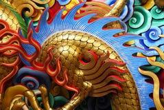 Chiński smok sztukateryjna sztuka. Fotografia Royalty Free
