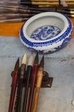 Chiński tradycyjny szczotkarski pióro i atrament dla kaligrafii Obrazy Royalty Free