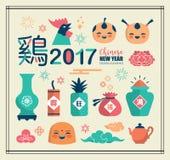 2017 Chińskich nowy rok ikon Fotografia Stock