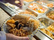 Chińskie jedzenia i restauraci bufeta niecki Obrazy Royalty Free