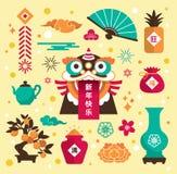 Chińskie nowy rok ikony ilustracja wektor