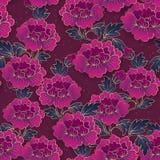Chińskiego eleganckiego ogród botaniczny peoni purpurowego kwiatu bezszwowy patt ilustracja wektor