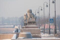 Chi Tsza (chi -chi-za) - ένα ζευγάρι του μυθολογικού λιονταριού φυλάκων γρανίτη Στοκ Εικόνα