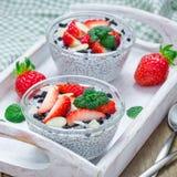Chia与草莓、杏仁和巧克力曲奇饼面包屑,方形的格式的种子布丁 图库摄影