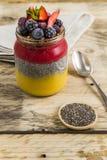 Chia布丁用莓果和格兰诺拉麦片 库存照片