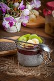 Chia种子布丁用果子 免版税库存照片