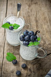 Chia种子布丁用蓝莓 免版税库存照片