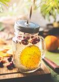 Chia种子戒毒所水 与橙色果子切片、柠檬汁和蔓越桔的健康饮料在玻璃瓶子和吸管  免版税库存照片