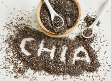 Chia种子 由chia种子做的Chia词 库存图片