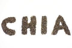 Chia词由chia种子制成在白色背景中 免版税库存照片