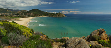 Chia Beach panorama (Sardinia) Royalty Free Stock Photos