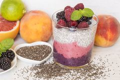 Chia and berry smoothie royalty free stock photo