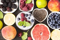 Chia and berry smoothie stock photography