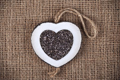 Chia on burlap Stock Photography