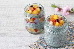Chia dessert. Made from chia seeds, milk and various fuits stock photography