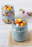 Chia dessert. Made from chia seeds, milk and various fuits stock image