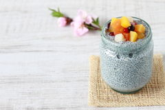 Chia dessert. Made from chia seeds, milk and various fuits royalty free stock photography