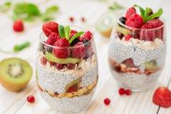 Chia do pudim com frutos frescos Imagem de Stock Royalty Free