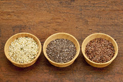 Chia, flax and hemp seeds stock image