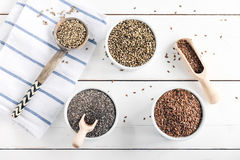 Chia, hemp and flax seeds super foods Royalty Free Stock Images