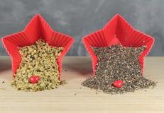 Chia and hemp seeds Royalty Free Stock Photo