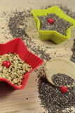 Chia and hemp seeds Stock Images