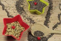 Chia and hemp seeds Royalty Free Stock Photos