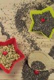 Chia and hemp seeds Royalty Free Stock Image